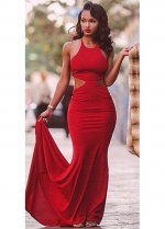 Red Open Back Mermaid Evening Dresses