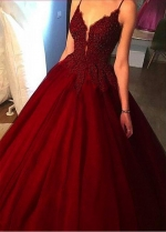 Fantastic Tulle Spaghetti Straps Neckline Floor-length A-line Evening Dresses With Beaded Lace Appliques