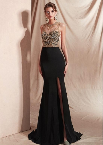 Beautiful Spandex Jewel Neckline Mermaid Prom Dresses With Beadings