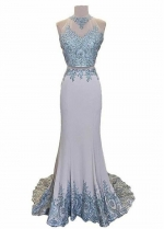 Chic Tulle & Satin Jewel Neckline Two-piece Mermaid Evening Dresses With Lace Appliques & Rhinestones
