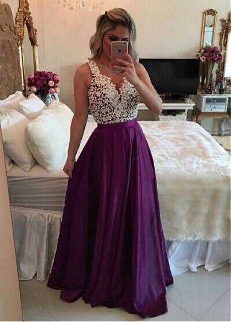 Brilliant Two Tone V-neck Neckline Floor-length A-line Evening Dresses With Beadings