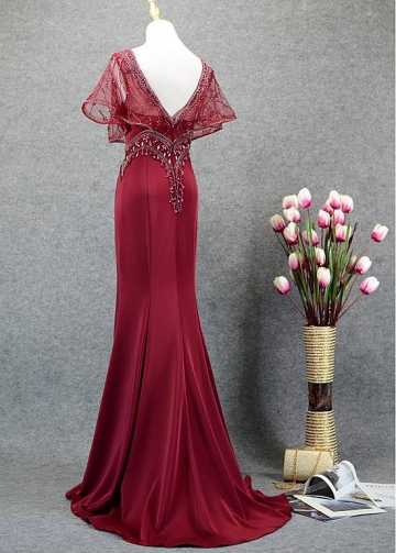 Romantic Tulle & Satin V-neck Neckline Mermaid Prom Dresses With Beadings