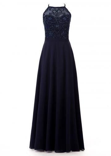Pretty Tulle & Chiffon Halter Neckline Floor-length A-line Bridesmaide Dress With Beading