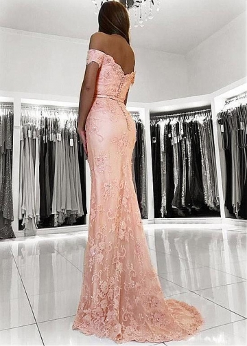 Fashionable Lace Off-the-shoulder Neckline Floor-length Mermaid Evening Dresses