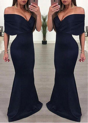 Sexy Satin Off-the-shoulder Neckline Floor-length Mermaid Evening Dresses