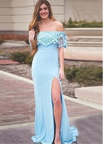 Modern Jersey Off-the-shoulder Neckline Floor-length Mermaid Evening Dresses With Slit