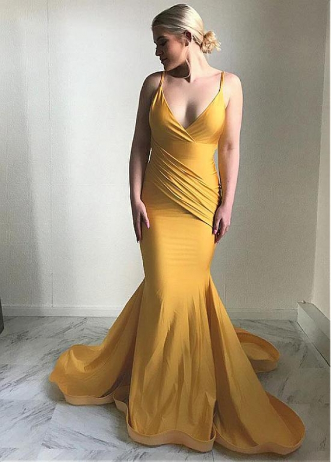 Alluring Spaghetti Straps Neckline Floor-length Mmermaid Evening Dress