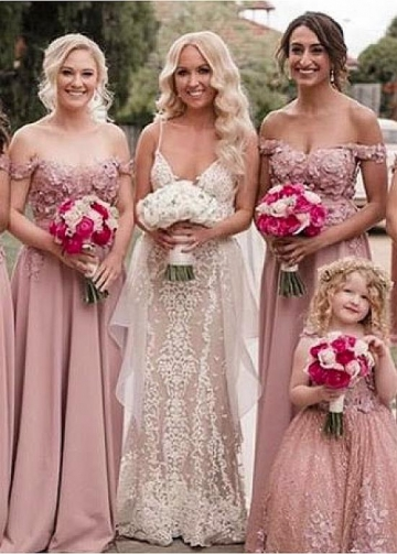 Beautiful Satin Off-the-shoulder Neckline A-line Bridesmaid Dresses With Beaded Lace Appliques