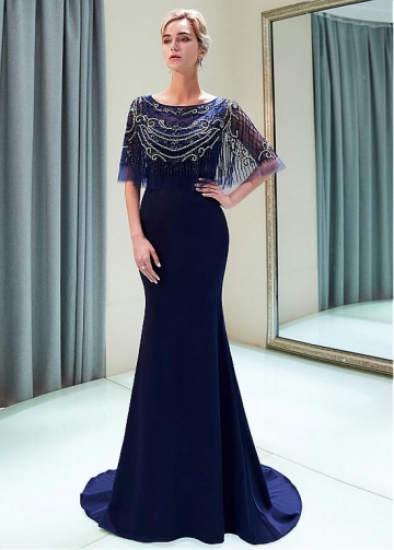 Fascinating Tulle & Satin Bateau Neckline Mermaid Evening Dress With Beadings