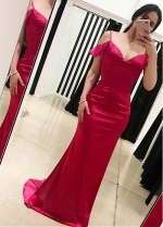Showy Spaghetti Straps Neckline Sheath/Column Prom Dress