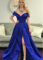 Junoesque Taffeta Off-the-shoulder Neckline A-line Prom Dress With Slit