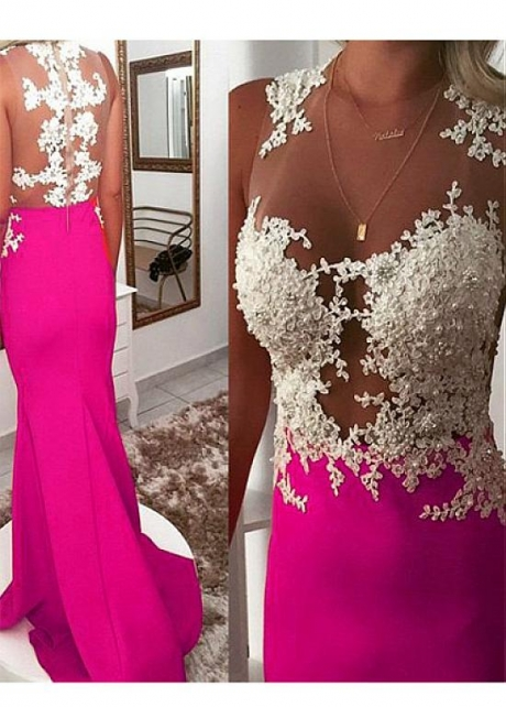 Showy Fuchsia Jewel Neckline Sheath/Column Prom Dress With Beaded Lace Appliques
