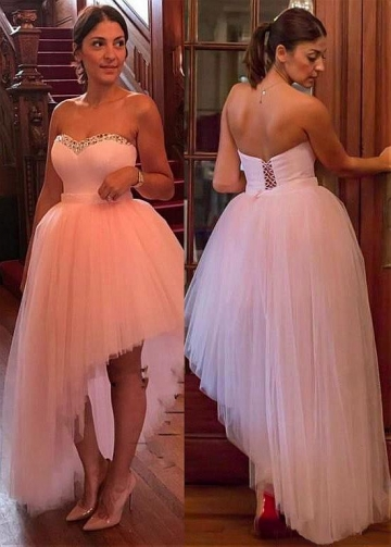 Winsome Tulle Sweetheart Neckline Hi-lo Ball Gown Prom Dress With Beadings