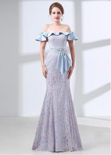Gorgeous Lace Off-the-shoulder Neckline Mermaid Evening Dress With Belt & Rhinestones
