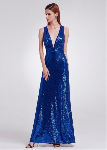 Honorable Sequin Lace V-neck Neckline Sheath / Column Prom Dress