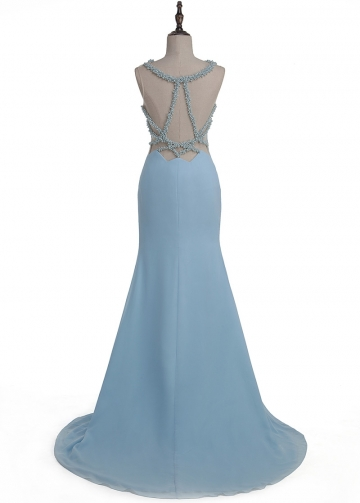 Wonderful Tulle & Chiffon Jewel Neckline Mermaid Evening Dress With Beadings