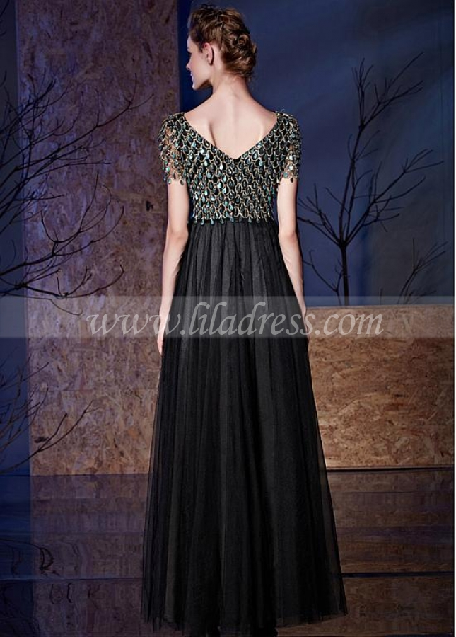 Eye-catching Tulle & Sequin Lace V-neck Neckline Floor-length A-line Prom Dresses With Pleats