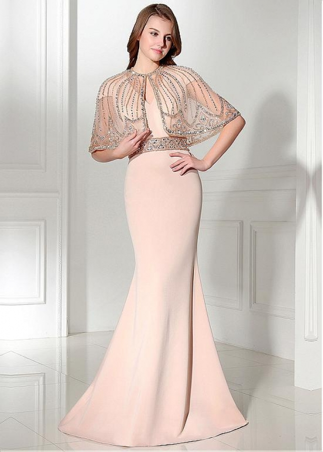 Elegant Tulle & Satin Jewel Neckline Sheath Evening Dresses With Beadings