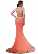 Fabulous Jewel Neckline See-through Waist Mermaid Evening Dresses With Lace Appliques