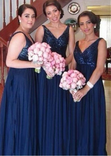 Attractive Sequin Lace & Chiffon V-neck Neckline Full-length A-line Bridesmaid Dresses