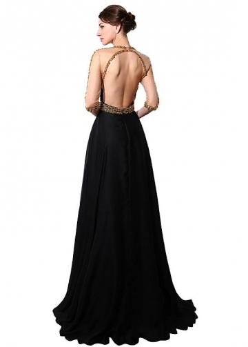 Fabulous Chiffon Jewel Neckline A-line Evening Dresses With Beadings & Rhinestones