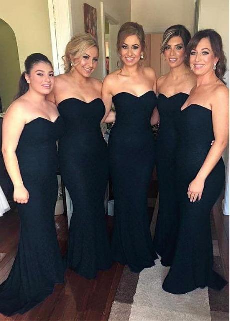 Glamorous Lace Sweetheart Neckline Mermaid Bridesmaid Dresses