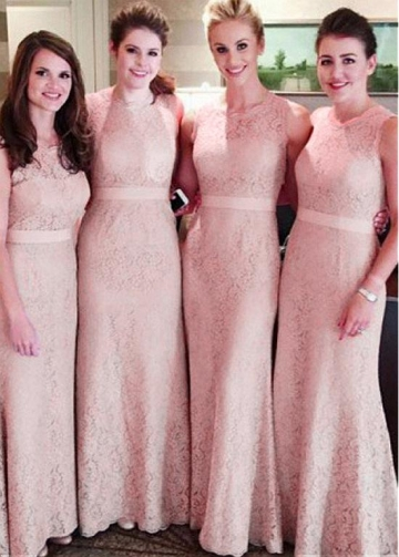 Popular Lace Jewel Neckline Sheath/Column Bridesmaid Dresses With Belt