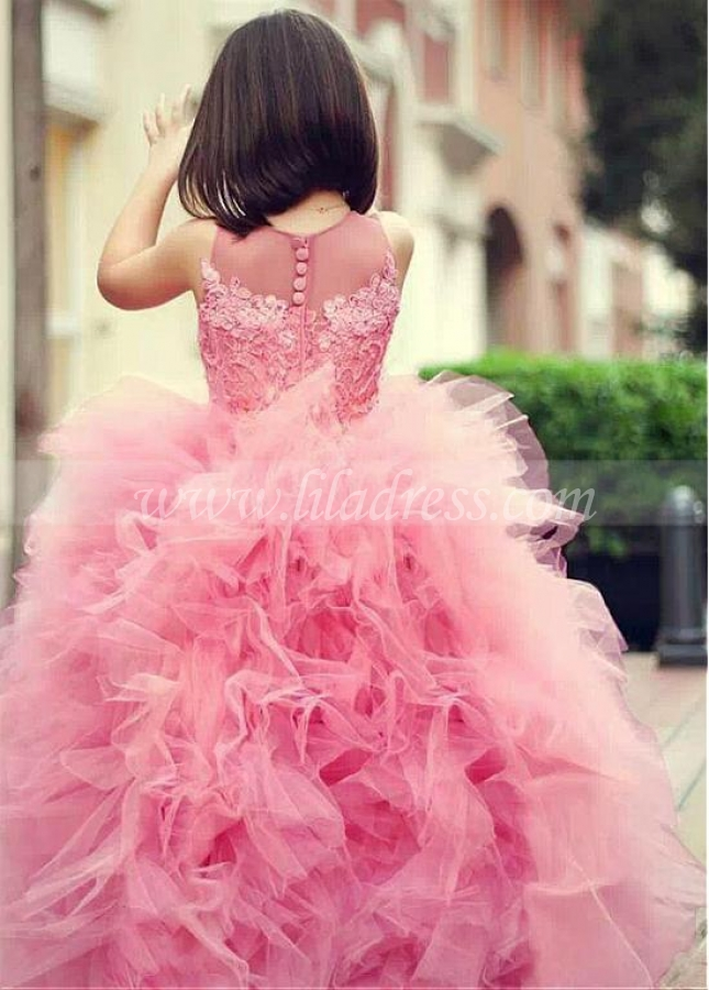 Gorgeous Ball Gown Pink Flower Girl Dresses with Tulle Ruffles