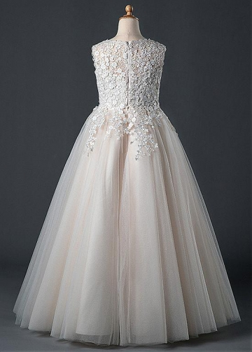 Elegant Tulle Jewel Neckline A-line Flower Girl Dress With Lace Appliques