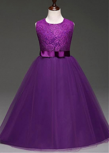 Exquisite Tulle & Lace Jewel Neckline Floor-length Ball Gown Flower Girl Dresses With Bowknot