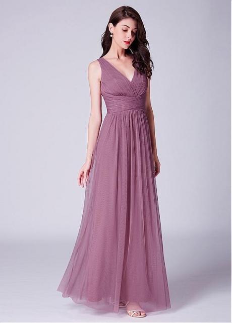 Wonderful Tulle V-neck Neckline Full-length A-line Bridesmaid Dresses