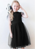 Fabulous Tulle & Satin Jewel Neckline A-line Flower Girl Dresses