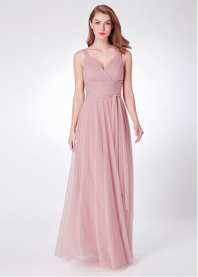 Wonderful Tulle V-neck Neckline Full-length A-line Bridesmaid Dresses