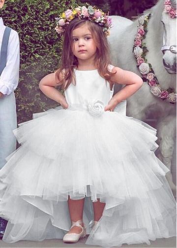Gorgeous Satin & Tulle Jewel Neckline Hi-lo Ball Gown Flower Girl Dresses With Belt & Handmade Flowers