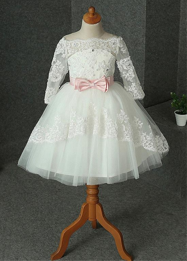 Sweet Tulle & Satin Off-the-shoulder Neckline Ball Gown Flower Girl Dress With Beaded Lace Appliques & Belt