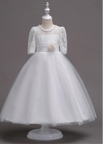 Glamorous Tulle & Lace Jewel Neckline A-line Flower Girl Dress With Beadings & Handmade Flowers