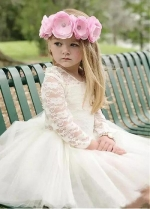 Gorgeous Tulle & Lace Jewel Neckline Ball Gown Flower Girl Dress