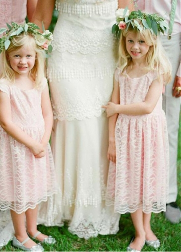 Gorgeous Lace Scoop Neckline A-line Flower Girl Dress