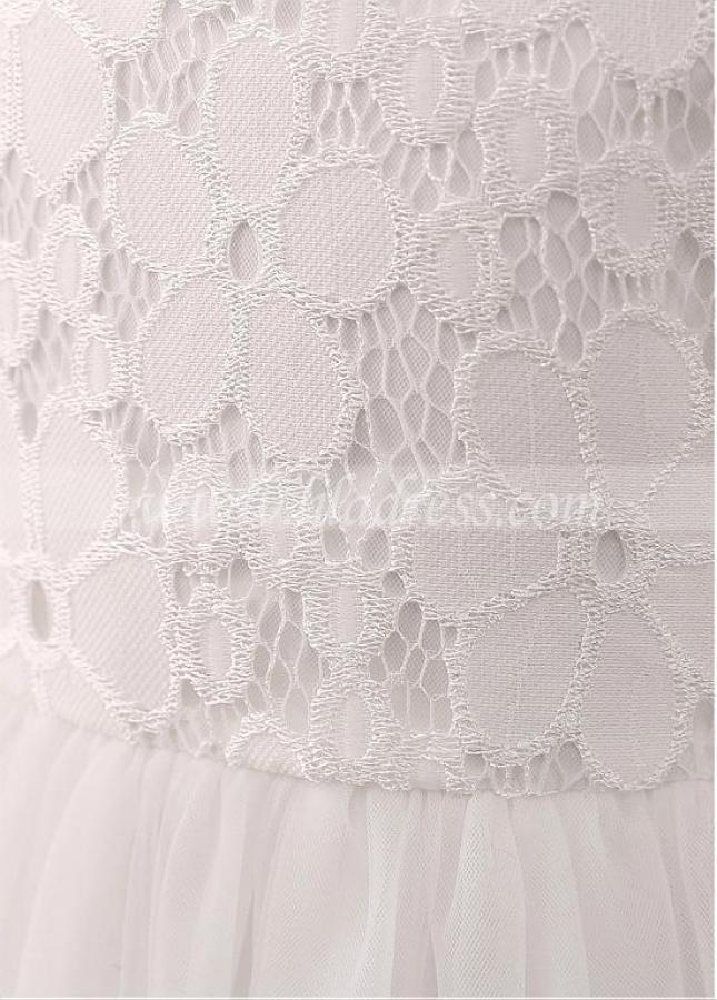 Modest Tulle & Lace Jewel Neckline A-line Flower Girl Dress