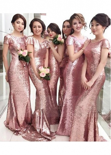 Alluring Sequin Lace Jewel Neckline Full-length Mermaid Bridesmaid Dresses