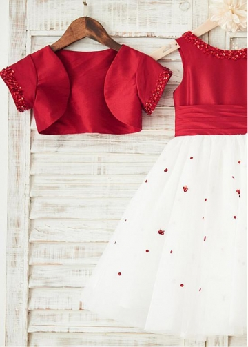 Charming Tulle & Taffeta Scoop Neckline Knee-length Ball Gown Flower Girl Dresses With Beadings & Detachable Coat