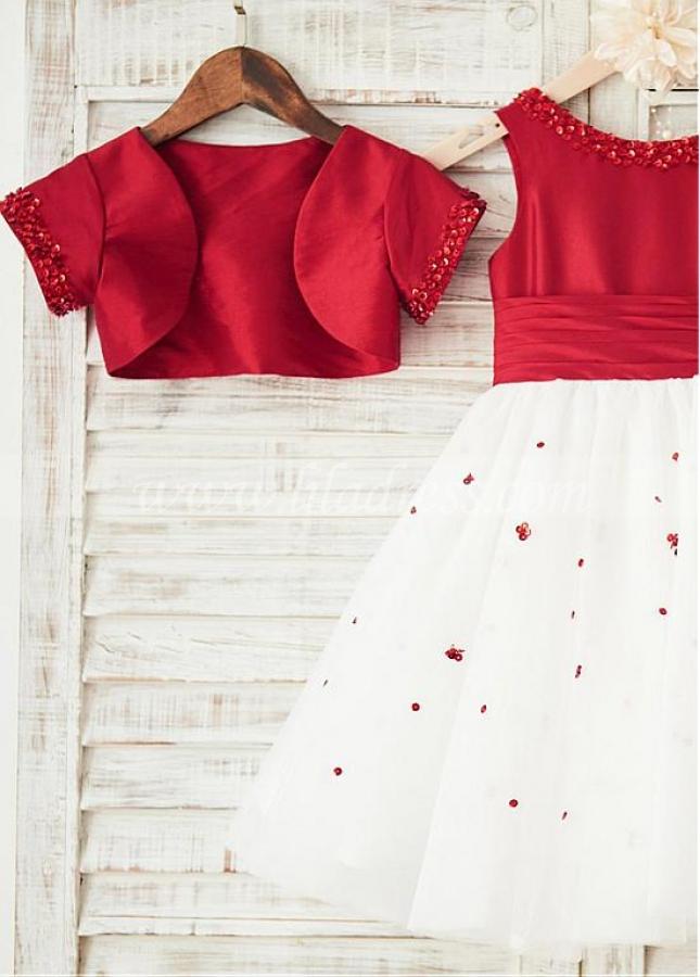 Charming Tulle & Taffeta Scoop Neckline Knee-length Ball Gown Flower Girl Dresses With Beadings & Detachable Coat
