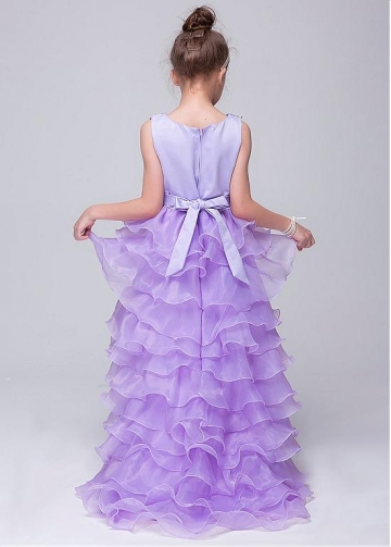 Delicate Sequin Lace & Organza Jewel Neckline Hi-lo Ball Gown Flower Girl Dresses With Handmade Flowers