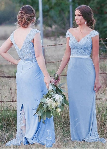 Romantic Tulle & Chiffon V-neck Neckline Mermaid Bridesmaid Dresses With Beaded Lace Appliques & Belt