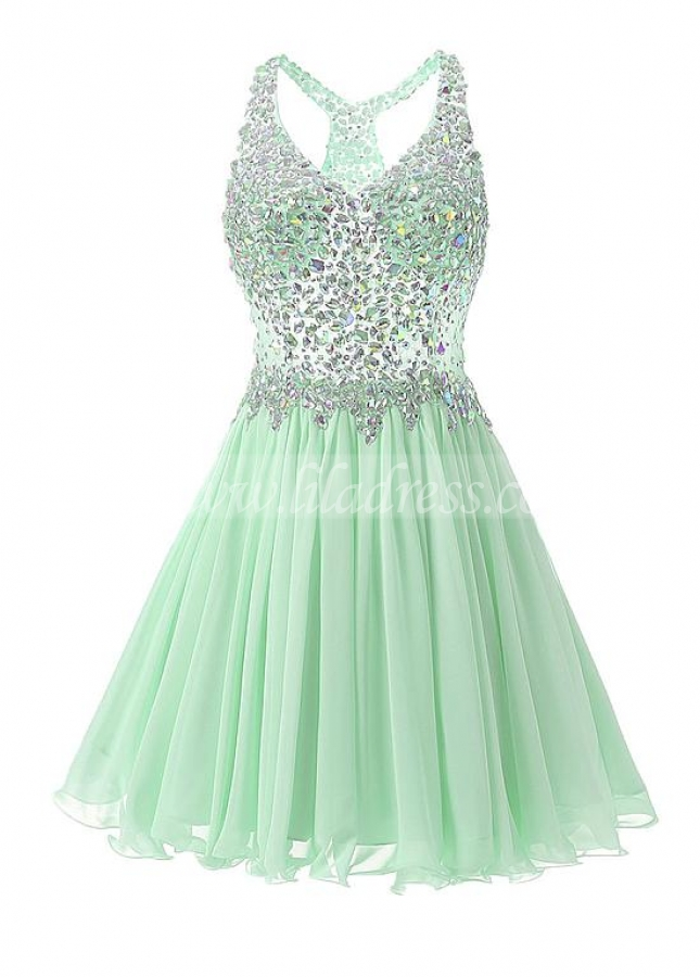 Fantastic Chiffon V-neck Neckline Short A-line Homecoming Dresses With Beadings
