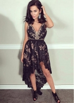 Fashionable Tulle & Lace V-neck Neckline Hi-lo A-line Homecoming Dresses With Lace Appliques