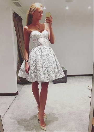 Fantastic Lace & Tulle Sweetheart Neckline Short A-line Homecoming Dress