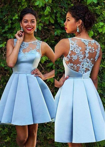 Wonderful Tulle & Satin Bateau Neckline Short A-line Homecoming Dresses With Lace Appliques