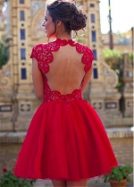 Stunning Tulle Jewel Neckline Short A-line Homecoming Dresses With Lace Appliques