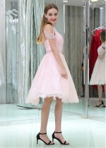 Wonderful Tulle & Lace Pink Knee-length A-line Homecoming / Sweet 16 Dresses With Beadings